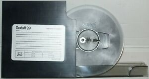 """VINTAGE SCOTCH 212 7"""" x 1/4"""" x 1800' REEL TO REEL MAGNETIC TAPE WITH PLASTIC BOX"""