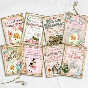 Vintage Pink Christmas Card Toppers Craft Embellishments Cardmaking Santa Tags