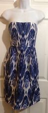 J. CREW Collection Blue Watercolor Print Silk Sheath Cocktail Dress Size 2 XS
