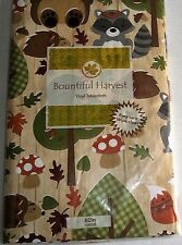 "FALL Vinyl Tablecloth   60"" Round""  FOREST ANIMALS  Seats 4"