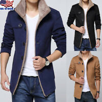 Fashion Men's Hooded Winter Wool Blend Trench Long Coat Slim Thick Fleece Jacket
