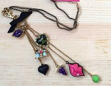 NWT Auth. Betsey Johnson Rare First Date Lips Heart Charms Long Lanyard Necklace