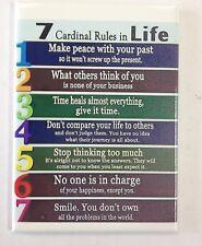 Refrigerator Magnet 7 Cardinal Rules of Life Motivational Inspiration Fridge New