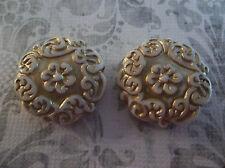 Cream & Gold Coin Beads 22mm Round Mediterranean Design German Lucite - Qty 2