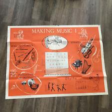 Vintage Large School Poster Making Music 1950s Mid Century Intruor Design