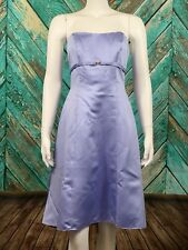 Davids Bridal Dress Strapless 6 Lilac Purple Formal Bridesmaid Satin Pleat Back
