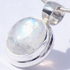 Mo05 piedra lunar plata 925 21mm remolque F. cadenas Moonstone Silver 925 video I