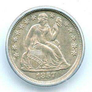 1857-O  Large O Liberty Seated Dime, ICG AU55