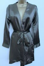 OH POLLY LADIES KHAKI GREEN SATIN SILKY BELTED DRESSING GOWN ROBE SIZE 8 BNWT