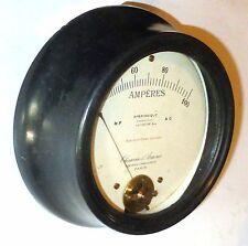 Ampèremètre Chauvin & Arnoux genre bois d'ébène 0-100A DC (FS 2 mA) diam 19 cm