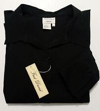 Fred David Womens Stretch Top 3X Black Shirt Long Sleeves & Bell Cuffs NEW