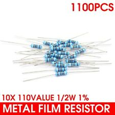 110 Values Assorted Metal Film Resistor Assortment Kit 1/2W 0.1Ω~10MΩ 1100pcs