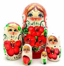 Russian Matryoshka Hand Painted Nesting Babushka set of 5 Doll