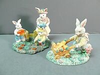 Easter 144 Rabbits in Carrot Garden 2 pcs Resin Hand Painted Midwest Vintage
