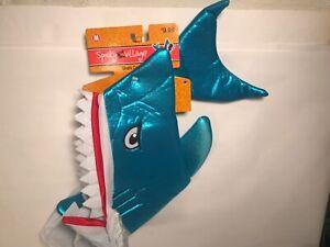 Spooky Village Pet Dog Blue Shark Costume Size Medium 13 in NWT