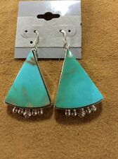 Navajo Handmade A Sterling Silver And Kingman Turquoise Earrings Signed GT