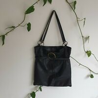 Mimco Black Leather Ring&Tie Medium Shoulder Bag Security & Zipped Pockets Boho