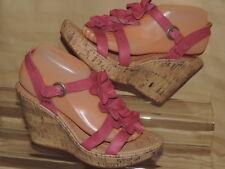 BORN Women's 9 EU 40.5 Pink Flower Cork Wedge Platform Slingback Sandals