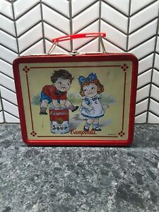 """Metal Campbell's Soup Lunch Box with Tomato Soup Design 1998, 8"""" x 6"""" x 3"""" Nice"""
