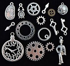 16pc GEARS CLOCK Steampunk CHARM SET, size 10mm to 37mm Antiqued Tibetan Silver