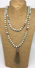 Fashion long knot Matt Amazonite Stones w Long Tassel Necklace woman jewelry