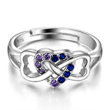 HEART .925 STERLING SILVER PURPLE CZ STONE WOMEN'S RING BAND ONE SIZE SS2064