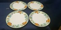 GIBSON DESIGNS China Set/4 Dinner Plates Blue/Red Flowers GID257 BEAUTIFUL!