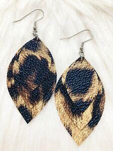 Lovely Brown / Beige  Faux Leather Earrings Triple Layer