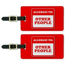 Allergic to Other People Funny Humor Luggage ID Tags Carry-On Cards - Set of 2