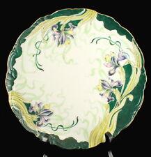 ANTIQUE ART NOUVEAU ELEANOR CHINA HAND PAINTED CABINET PLATE GREEN PURPLE IRIS