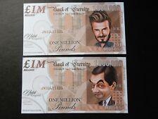 X2 un milione di nota FANTASY BILL 1,000,000 David Beckham MR Bean Rowan Atkinson