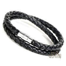 US Men Women Double Wrap Leather Stainless Steel Wristband Bracelet AB075