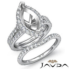 Marquise Diamond Semi Mount Engagement Wedding Ring Bridal Set Platinum 950 1.9C