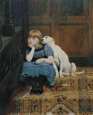 "Briton Rivière, Sympathy, 1877, Young girl w her sweet dog, antique ART, 16""x13"""