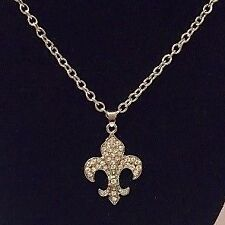 Fleur De Lis Necklace Silver Rhinestone New Orleans Wedding Biker Metal Rock