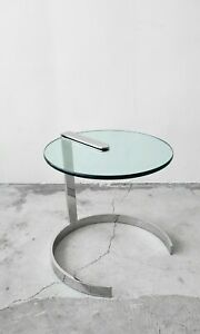 Mid Century Round Chrome and Glass Cantilevered Side Table