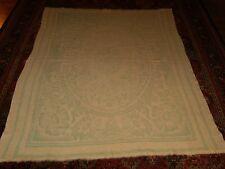 Antique Vtg Woven Wool Reversible Blanket w/ Floral Design Cream Mint Green