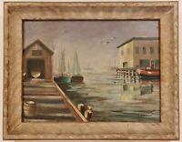 "Vintage Oil Painting on Board Harbor Scene Signed Framed Art (15"" x 19"")"