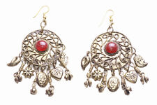 Rustic Gold/red Stone Centre & Charm Embellished Chandelier Earrings(Zx176)