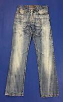Sixty jeans uomo usato w30 tg 44 maculato blu gamba dritta righe boyfriend T600