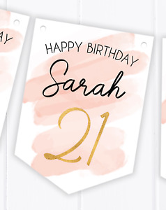 Rose Gold / Gold Effect Birthday Party Bunting - Any Age 18th, 16th, 21st, 30th