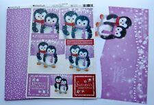 Kanban Cute Penguin Christmas Die Cut Foiled Toppers,Card, Insert Kit 54377
