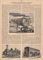 Eisenbahn Hochbahn Meigs'schen System Lokomotive HOLZSTICH  1886