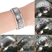 Tibetan Silver Plated Elephant Tibet Totem Bangle Jewelry Cuff Wide Bracelet  ES
