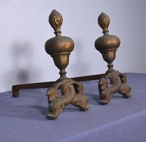 "*16"" tall Antique Bronze and Iron Andirons Fireplace Chenet with Dolphin Feet"