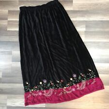 White Stag Crushed Velvet Long Skirt Modest Embroidered Peasant Gypsy M 8 10
