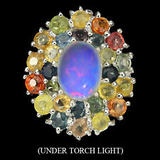 GORGEOUS NATURAL 8x6mm FULL FIRE OPAL,FANCY SAPPHIRE STERLING 925SILVER RING 6.5