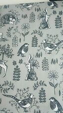 GREY Double Duvet Set Woodland Animals Pheasant Rabbit Peacock Fox NEW