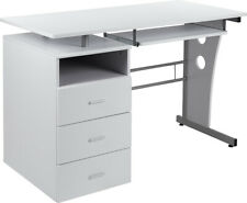 Computer Desk with File Cabinet Pedestal, Pull-Out Keyboard in Laminated White