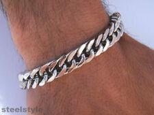 Link Chain Bracelet 11 Mm Men'S Large Stainless Steel Silver 316L